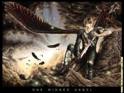anjo sujo de sangue com espada na mão