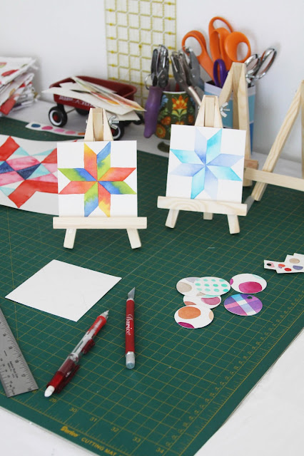 studio, work space, artist studio, watercolor, quilt blocks, Anne Butera, My Giant Strawberry