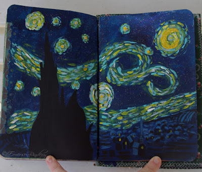 Starry Night page from handmade art journal