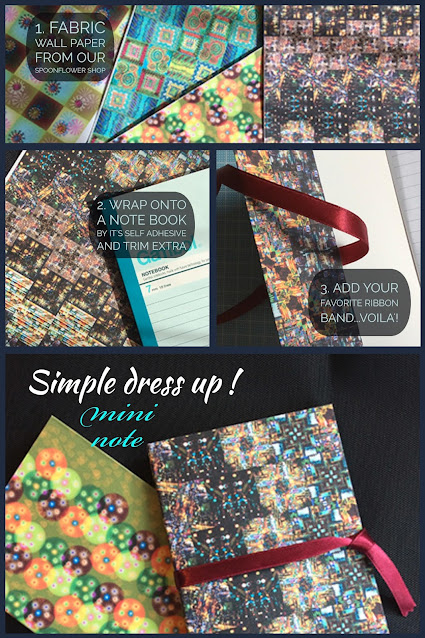 Process of dressing up a mini note by custom wall paper print