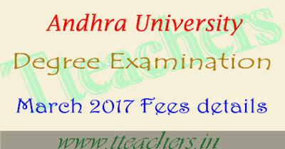 AU degree degree exam fees date 2016-2017 registration form of 1st 2nd 3rd year