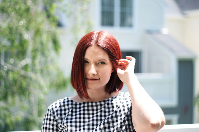 Gingham trend, red hair, hair ideas, womenswear, affordable fashion, Fashion blogger