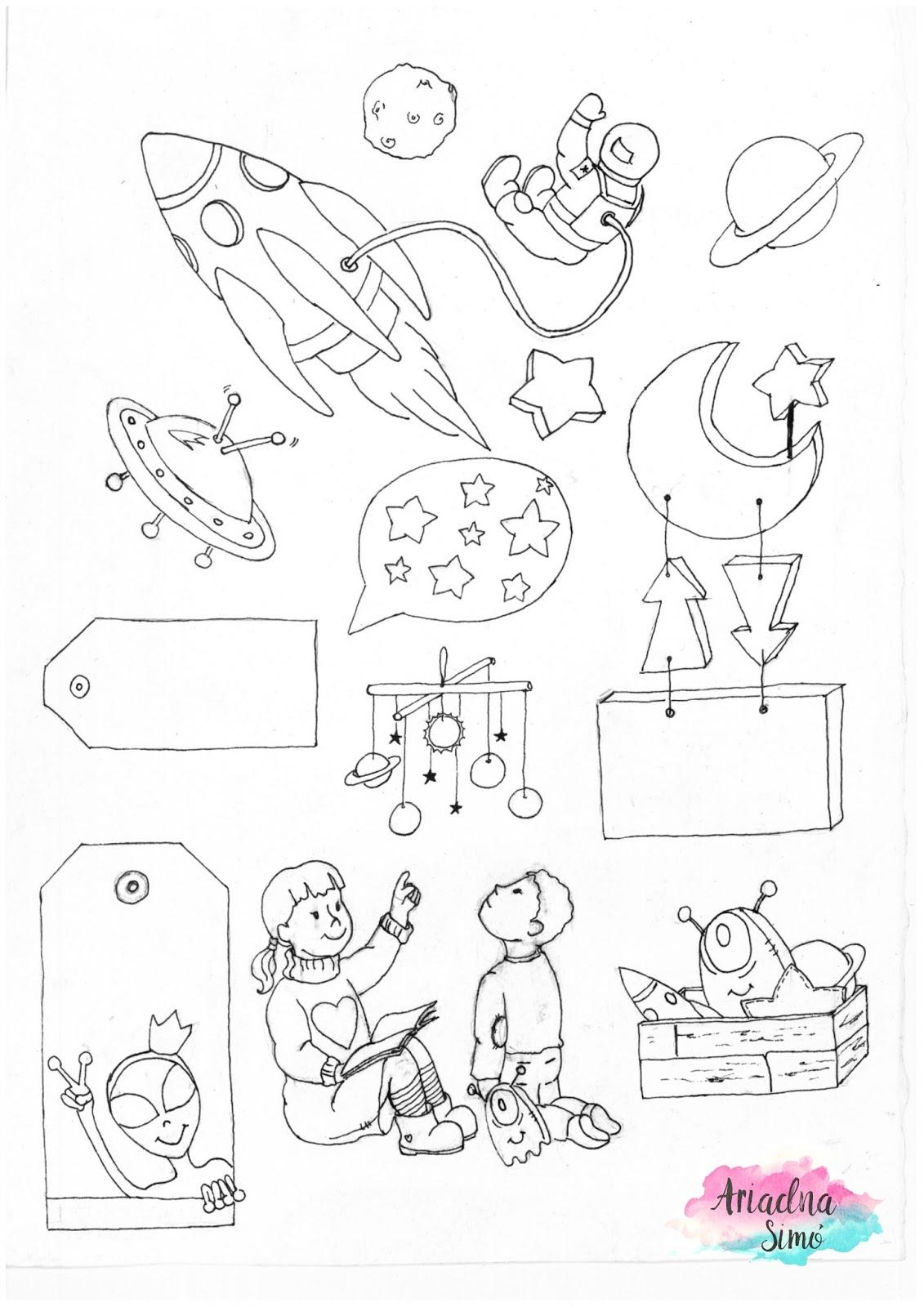 Arte, Artesania y Manualidades: Imprimible del espacio ilustración ...