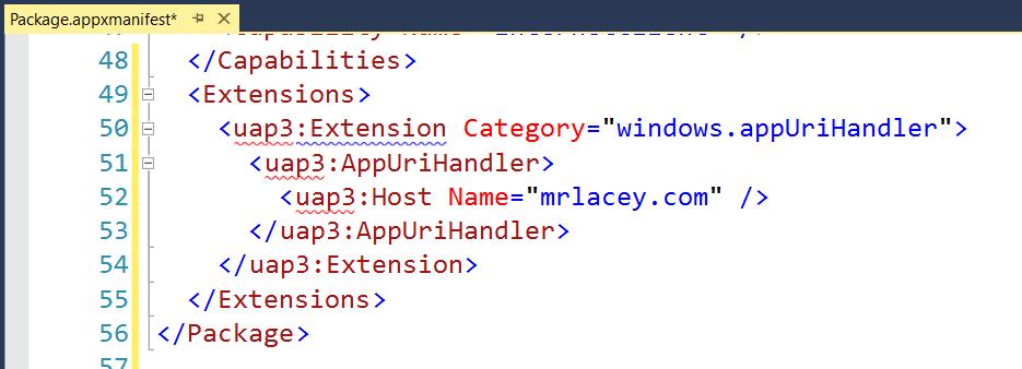 App URI handlers in UWP apps - open your website with your