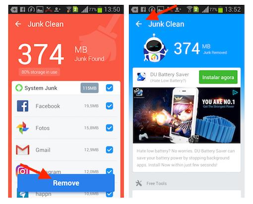 Removendo arquivos da lixeira do Android com o Super Booster Clean Boost