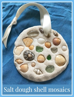 Salt dough shell mosaics craft