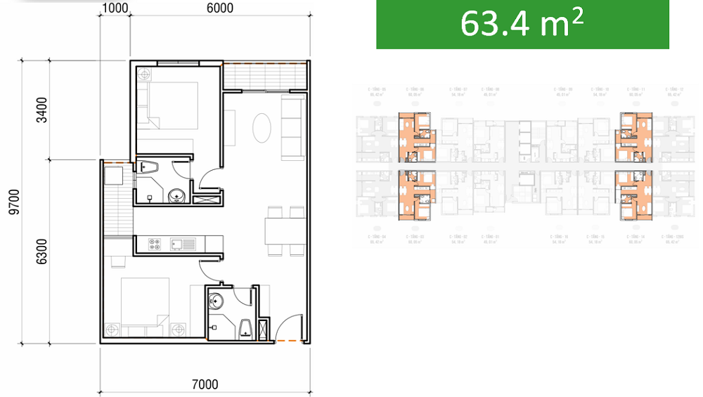thiết kế căn hộ asa light 60m2