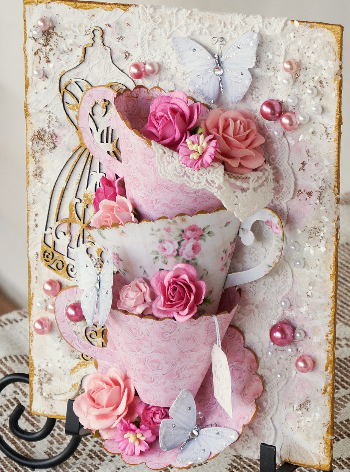 Terrys scrapbooks reneabouquets 3d tea cup canvas design team heres the video tutorial baditri Image collections