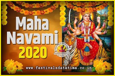 2020 Maha Navami Pooja Date and Time, 2020 Maha Navami Calendar