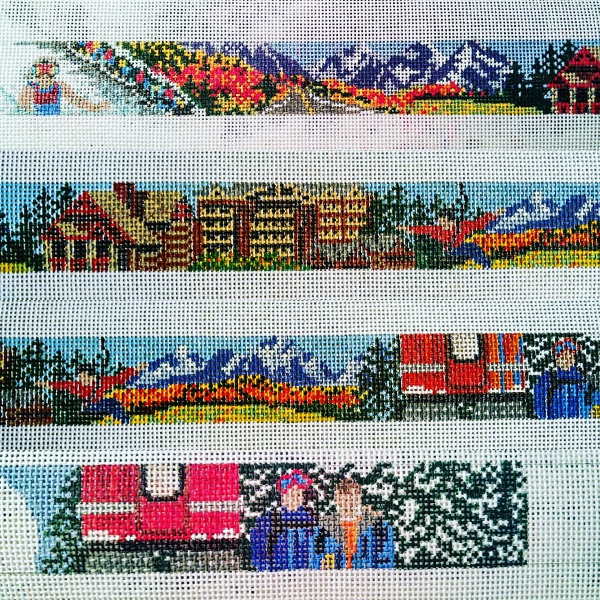 Needlepoint belt design depicting images of skiing, moutains and cable car