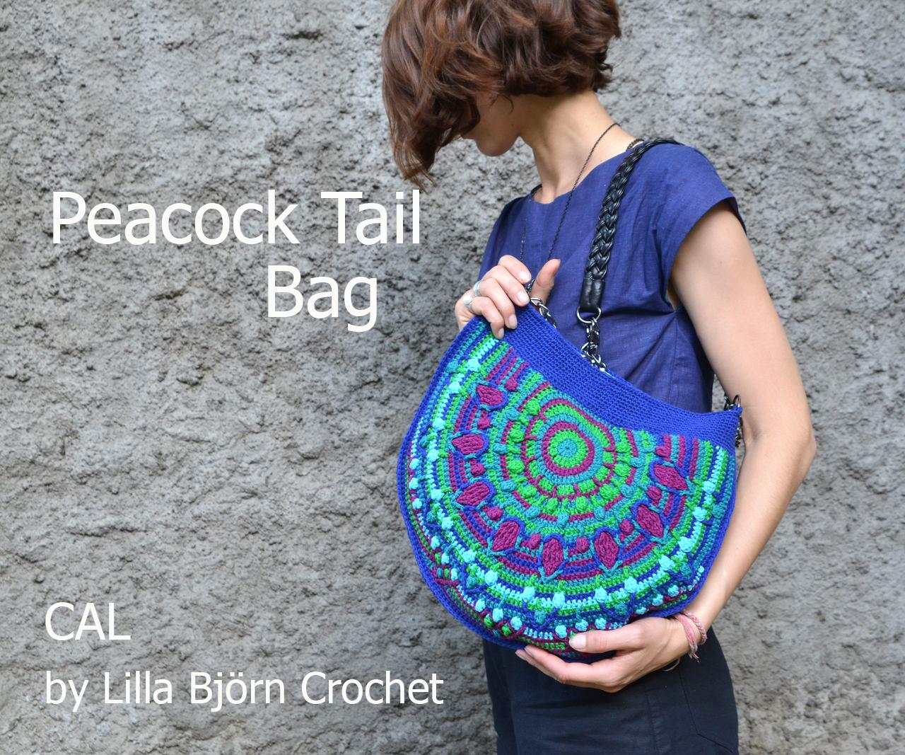 Peacock Tail Bag. CAL in overlay crochet. Original design by Lilla Bjorn Crochet