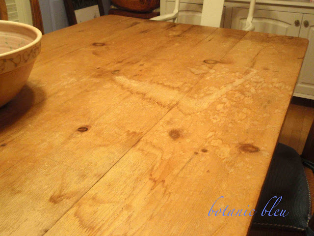 Pine Table Refinished with severe water damage