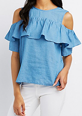 Denim top with ruffles from Charlotte Russe