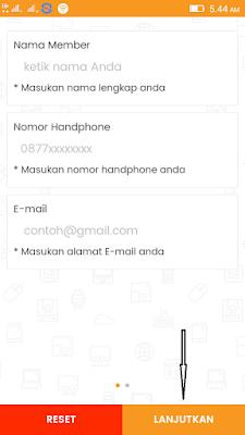 Cara Mengisi Nama, Nomor Hp dan Email di cara daftar di Aplikasi Zakpay Android