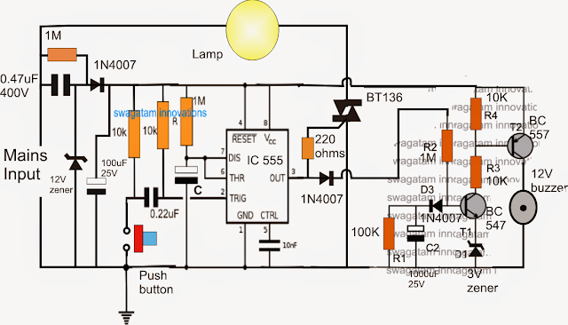 Bathroom Lamp Timer with Buzzer Ciruit