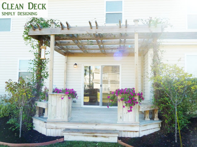 Rinse and Scrub Deck | How to Stain a Deck | #deck #stain #diy | @SimplyDesigning