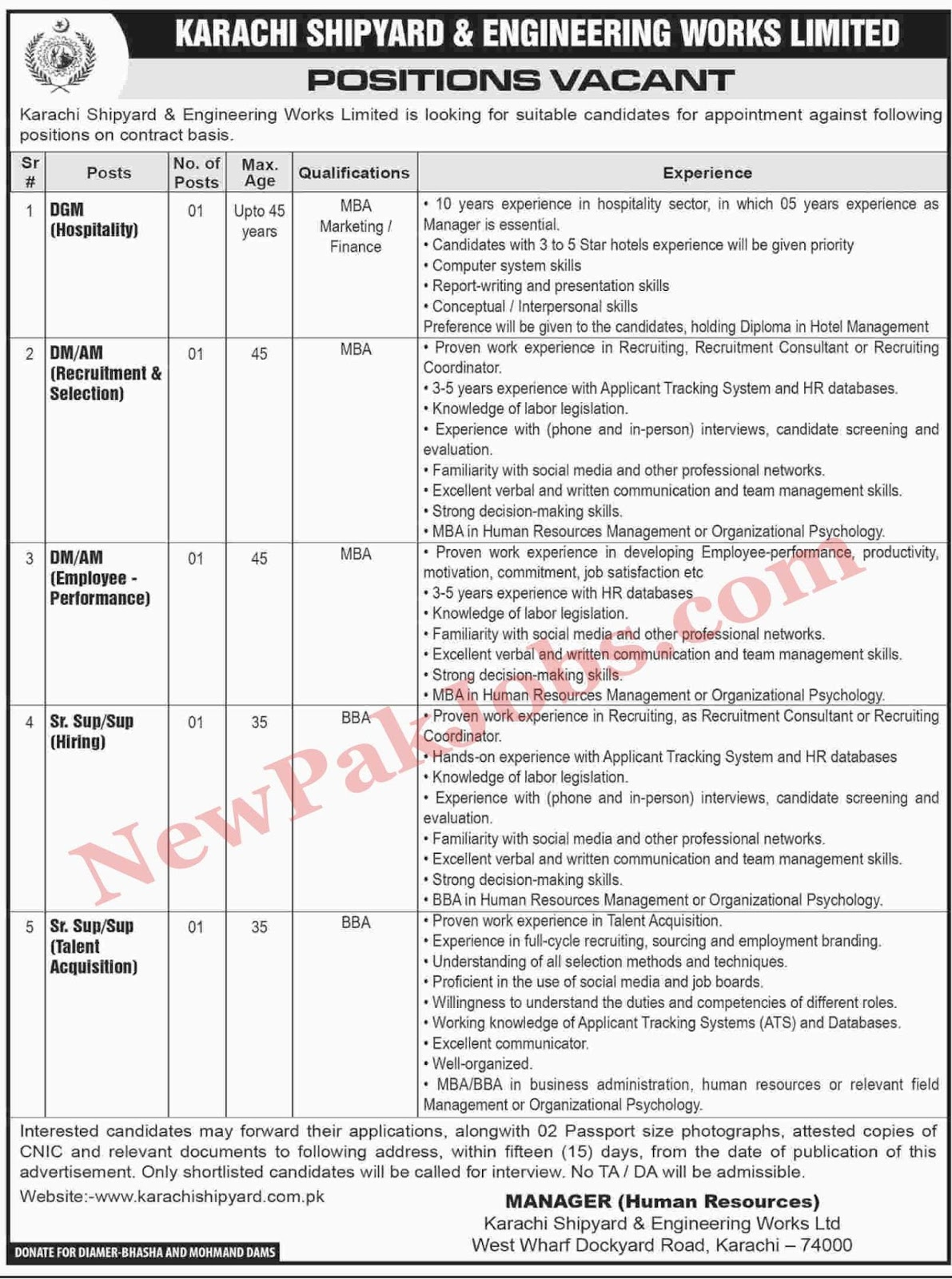 Latest Jobs in Karachi Shipyard & Engineering Works Limited