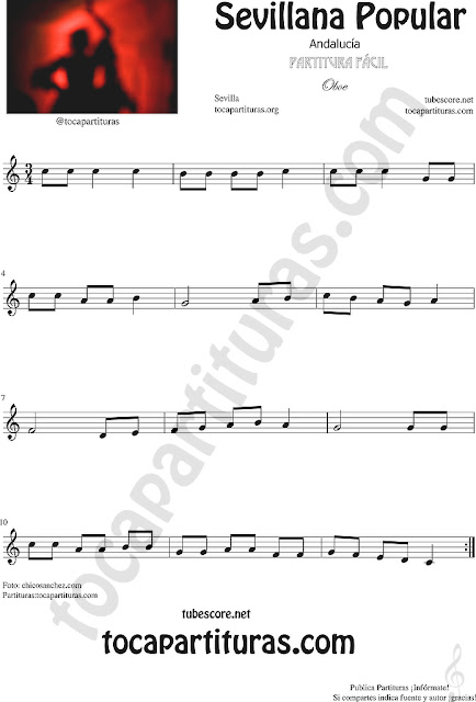 Sevillana Popular Partitura de Oboe Sheet Music for Oboe Music Score