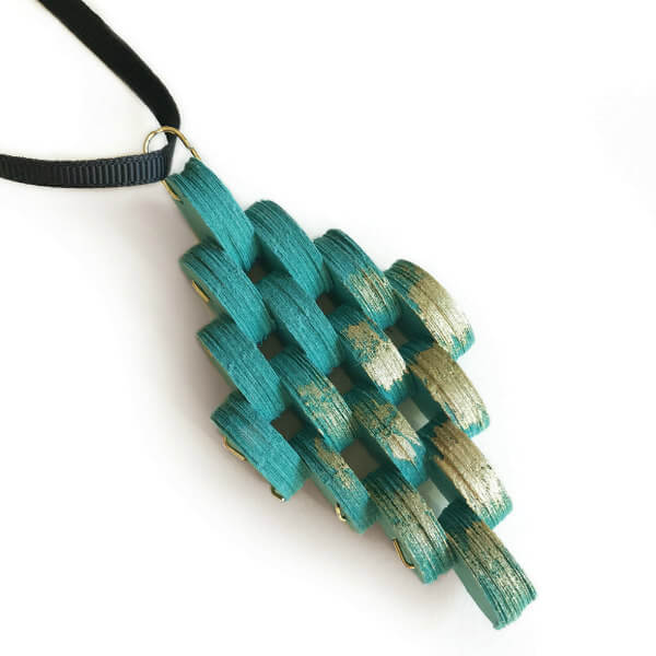 Turquoise and Gold Diamond-shaped Paper Necklace