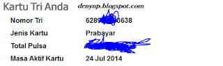 http://internet.tri.co.id -  Cara Cek Kuota Tri ketik INFO DATA kirim ke 234