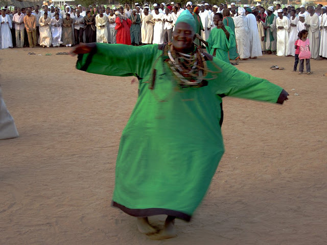A whirling dervish at the Sufi ceremony in Omdurman, Sudan.