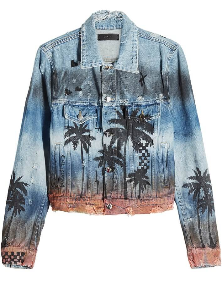 Short denim jacket with palm tree print