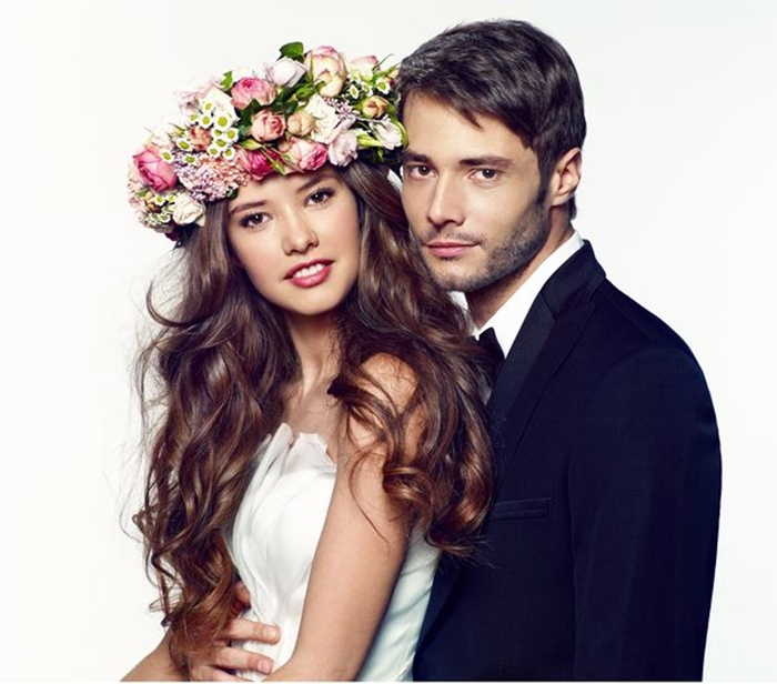 couple hairstyles, bridal with flowers, garland