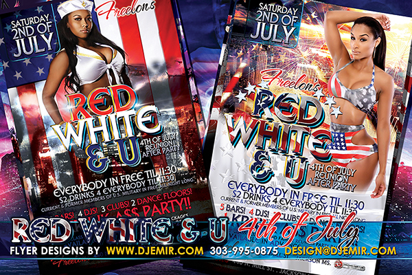 Red White And Blue 4th of July American Independence Day Flyer Design