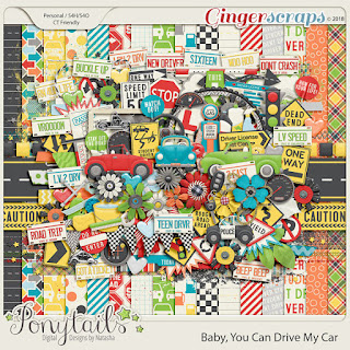 Creative Team, Annemarie, for GingerScraps - Baby, You Can Drive My Car Bundle,  Ponytails Designs and Coordinating Freebie