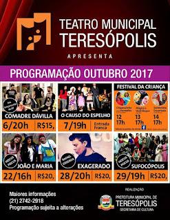 Programação de outubro de 2017 - Teatro Municipal de Teresópolis