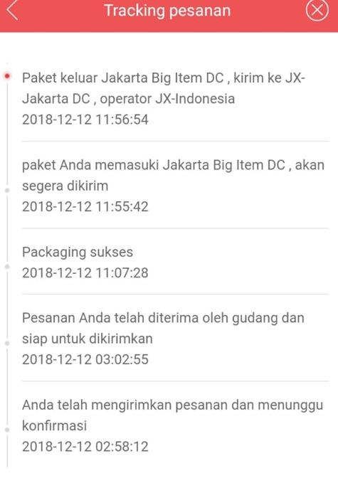 cek status pengiriman jX Express di jd.id