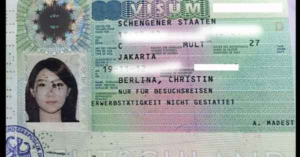 contoh visa schengen jerman yang sudah tertempel dipaspor