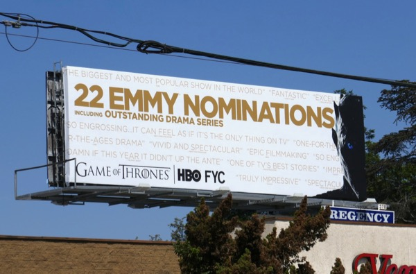 Game of Thrones 22 Emmy nominations billboard