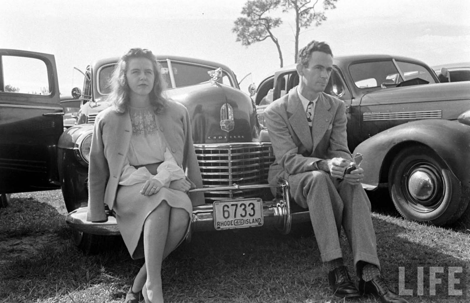 A Floridan couple in a drive-in church. 1947.
