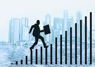emprendedor subiendo peldaños