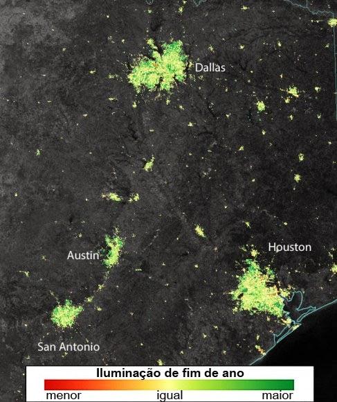 Luzes de natal vistas do espaço