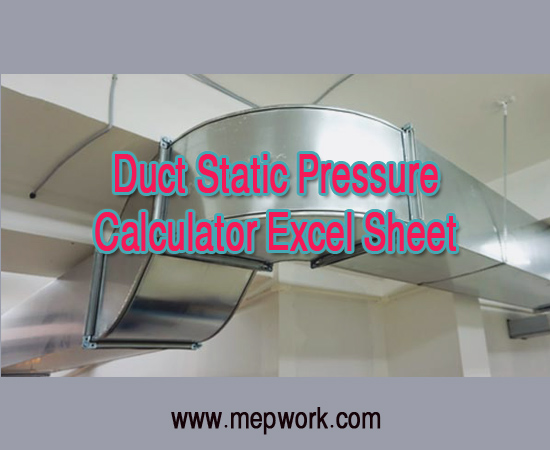 Duct Static Pressure Calculator Excel Sheet XLS