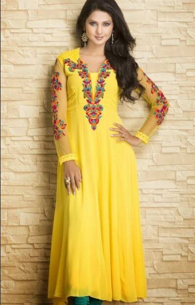 Jennifer Winget Anarkali Dress in Yellow