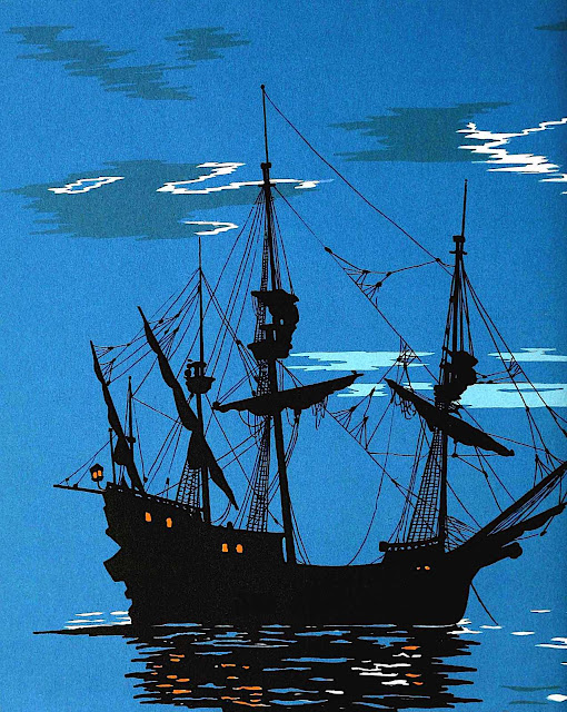 an  EA Verpilleux color illustration of a ship at night in silhouette, 1931