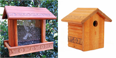 Redwood Etched Glass Bird Feeder and Bird House Giveaway