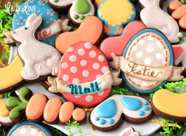 Brightly colored Easter cookies - decorated sugar cookies