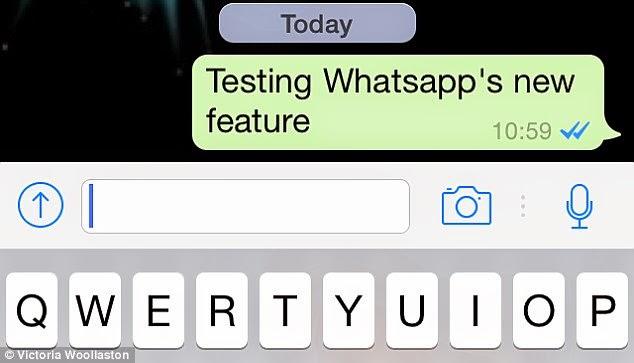 Whatsapp mensagem com seta azul