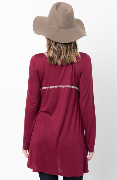 Buy Now Burgundy Lace Trim Long Sleeve Jersey Top Tunic Online - $34 -@caralase.com