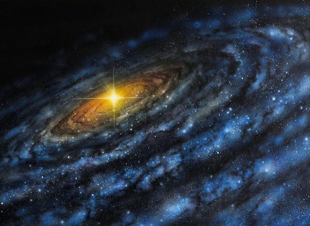 Emission from the center of a galaxy has a serpentine shape