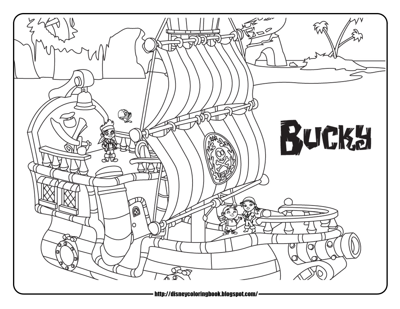 Jake and the neverland pirates 2 free disney coloring for Pirate coloring book pages