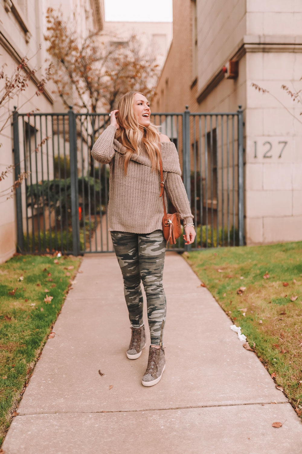 Oklahoma City blogger Amanda Martin wears a chunky knit OTK sweater and camo pants