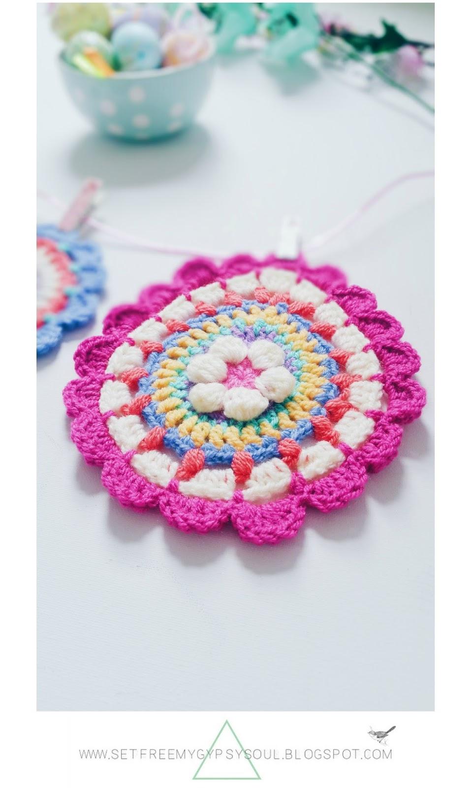 free crochet pattern easter egg mandala bohemian