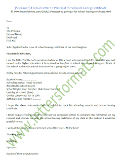 Formal Letter to Principal for School Leaving Certificate (Sample)