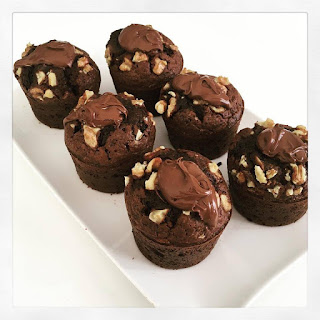 Muffins façon Colombus : brownies coeur choco-noisette ( nutella)