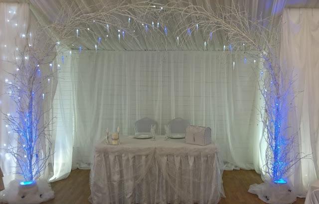 """Пример оформления свадьбы на тему """"Зимняя сказка"""" с использованием подсветки и флористических украшений"""